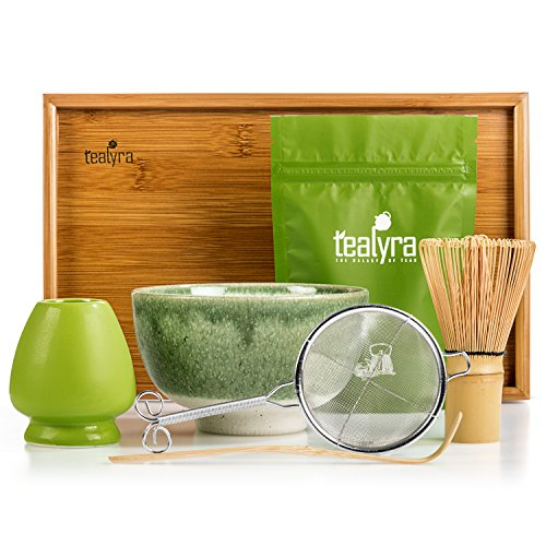 Tealyra - Matcha Kit - Connoisseur Ceremony Start Up Set - Premium Matcha Tea Powder - Japanese Made Green Bowl - Bamboo Whisk Scoop and Tray - Holder - Sifter