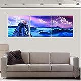 wcylj 3 Paneles de Arte de Pared fantasía montaña Paisaje Pintura Colorida Cielo Nubes decoración Pinturas para Sala Pared no-20x20cm