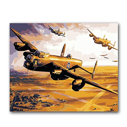 PAINTY Militaire vliegtuigafbeeldingen olieverfschilderijen door cijfers met kits voor doe-het-zelf schilderij op canvas tekenen om in te kleuren op cijfers