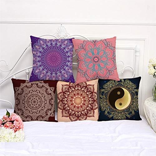 Juego de 5 fundas de cojín decorativas de 45 x 45 cm, multicolor, de algodón y lino, para sofá, coche, dormitorio, decoración de hogar (patrón de dos caras)