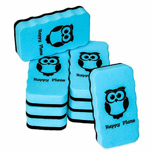 Magnetic Dry Eraser Board Eraser – Set of 8 Magnetic White Board Eraser for Home, School & Office – 4.16 x 2.16 Inch Erasers for Dry Erase – Blue by Happy Plans