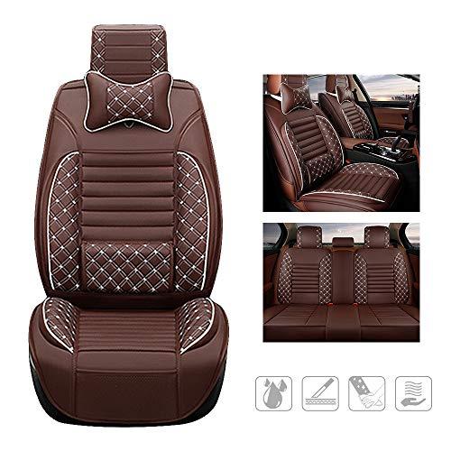 huitelai Fundas para asientos de coche para P Peugeot 206, 206 cc, 207, 207 cc, 307 y 307SW 308 308CC 308GT, piel sintética, impermeables, fácil instalación, juego completo y 2 cojines, color marrón