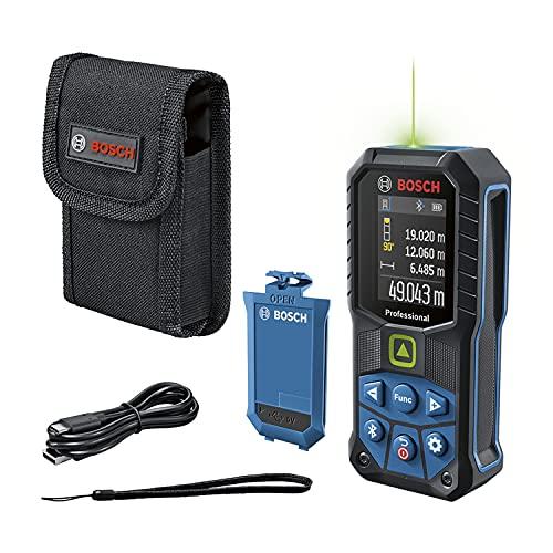 Bosch Professional Distanziometro laser GLM 50-27 CG (laser verde, campo di misura: fino a 50m, batteria aglio ioni di litio 3,7 V, cavo USB, robusto, trasfer. dati bluetooth, tracolla, sacchetto)
