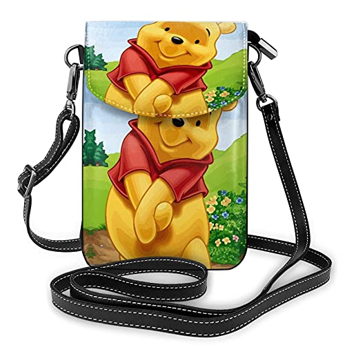 XCNGG Kleine Geldbörse Women's Small Crossbody Bag with Shoulder Strap,Winnie The Pooh is Shy Small Cell Phone Purse Wallet with Credit Card Slots