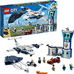 Build a 3-level Sky Police air base with control tower, jail cell with breakaway wall, large police plane, jetpack with foldable wings, working parachute and a getaway car for exciting police chase action Includes 6 LEGO minifigures: 2 crook figures,...