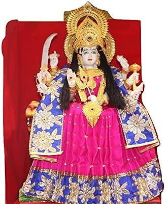 Reliable Fabric Durga Devi Vastra Poshak, Combo with Shringar Set Necklace, Mukut Kada and Tagdi Belt for MATA Laxmi Radha Rani Statue of 2.5 Feet (15 Inch, Red)