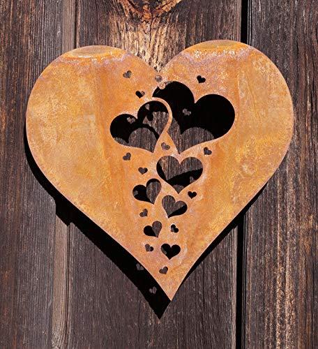 Dekostüberl Rostalgie Edelrost Herz mit Miniherzen klein zum Hängen 15x15cm Geschenk Gartendeko