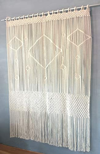 Aura Design's Macrame Curtain large Wall Hanging - 52'W x 78'L Door Window...