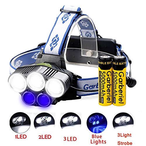 Keep Better 5 LED Headlamp T6 Waterproof 6 Modes Headlights Head Light for Outdoor Sports Camping Fishing (2 Light Source: White and Blue)
