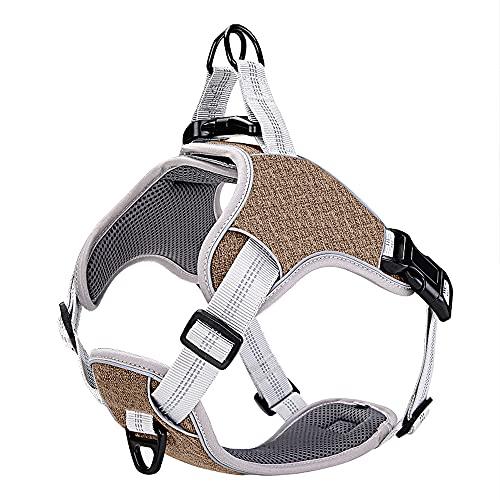 papipet Hundegeschirr, reflektierend, verstellbar, atmungsaktiv, komfortabel, für kleine, mittelgroße und große Hunde, am besten für Training, Spaziergänge im Freien (braun, M)