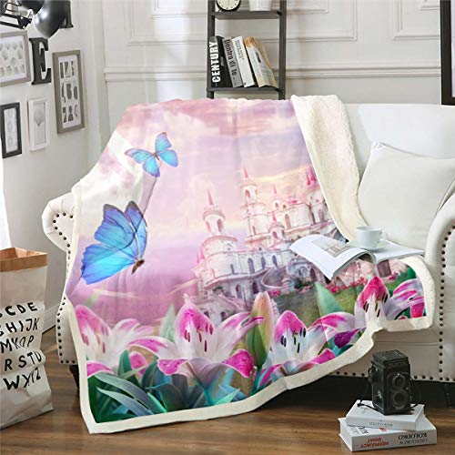 Princess Castle Sherpa Blanket Fantasy Castle Decor Fleece Throw Blanket for Kids Butterfly Pink Lily Plush Blanket Fairy Tale Magic Kingdom Fuzzy Blanket for Sofa Bed Couch,Double 60x79 Inches