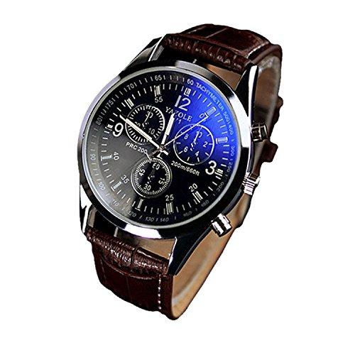 Liar Elegante reloj para hombre con cinturón de tres ojos en cristal rayado azul salvaje * 1 (cinturón marrón, esfera negra)