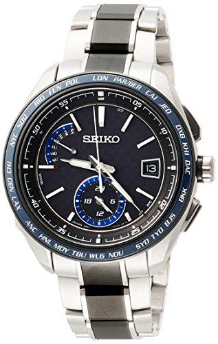 [セイコーウォッチ] 腕時計 ブライツ ソーラー電波 スポーティライン カーボン調黒文字盤 チタンモデル サファイアガラス SAGA261 メンズ シルバー