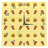 BestIdeas Summer Foods Cola Burger - Reloj de pared de cuarzo silencioso sin garrapatas con pilas para decoración del hogar para dormitorio, salón, cocina, oficina