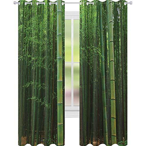 YUAZHOQI Rideau décoratif en bambou pour porte française - Image d'une forêt de bambou - Vision de la jungle fraîche et exotique avec de hautes pousses - Impression artistique tropicale - Vert - 132,1 x 213,4 cm