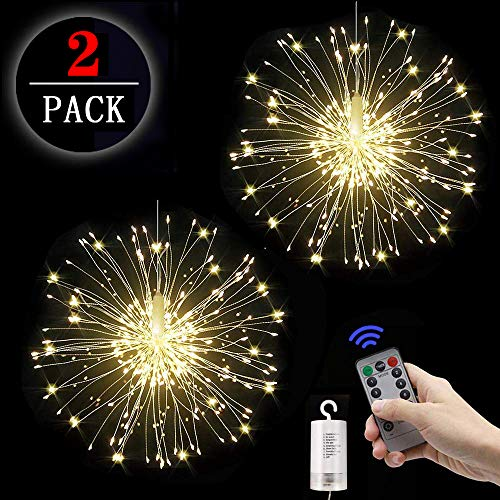 2 Stücke Feuerwerk Lichterketten Starburst Lichter 120 LED Kupferdraht Feuerwerk Lichter Lichterkette mit Fernbedienung 8 Modi der Lumineszenz Wasserdicht für Haus Garten 2pcs