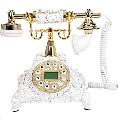 DFJU Teléfono Retro Vintage Antiguo teléfono Resina Manos Libres Retroiluminación Teléfono Pastoral Fijo