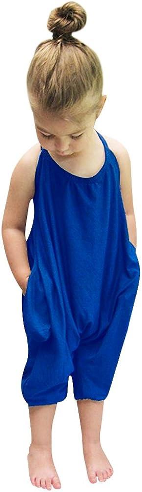Vinesen Translated Toddler security Girls Jumpsuit Romper One Strap Solid Color Piec