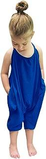 chinatera Little Girls Kids Halter Romper Harem Pants One-Piece Jumpsuit Cotton Blend (6-12 M, Blue)