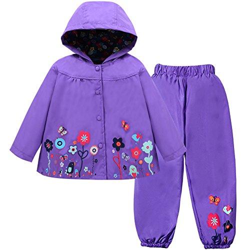 LZH Mädchen Kinder Regenjacke mit Kapuze Regenhose 2pcs Bekleidungsset (5-6 Years(130), Purple)