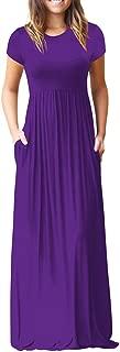 Women Casual Loose Sliod Pockets Short Sleeve O Neck Long Party Dress