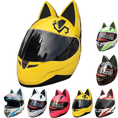 SUTOUKUI Kreative Süße Katze Ohren Motorradhelm,Junge Männer Und Frauen Kühles Motorrad Elektro-Auto-Motorrad-Kart-Integralhelm,DOT/ECE-Zertifizierte Helme,A,M