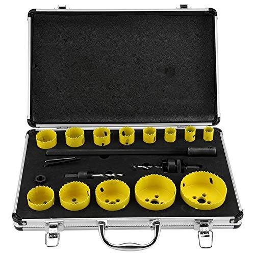 Kit de sierra, 17 piezas de acero M42 con caja de metal, 13 agujeros, 2 Drills, 2 llaves hexagonales y barra de extensión several para placas de madera blanda, placa de plástico de PVC