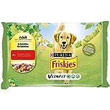 Purina Friskies Húmedo Perro Botes de gelatina con Carne y Zanahoria - 40 Sobres de 100 g Cada uno (10 Unidades de 4 x 100 g)
