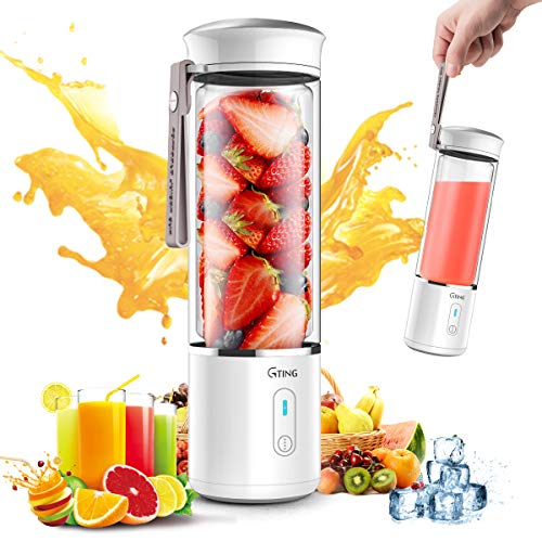 Portable Blender, G-TING Personal Smoothies Blender Cordless, Single Serve Mini Blender 450ml USB Rechargeable Small Juice Mixer Portable Juicer (Shakes, Smoothies, Home, Travel & Gym) Food Grade