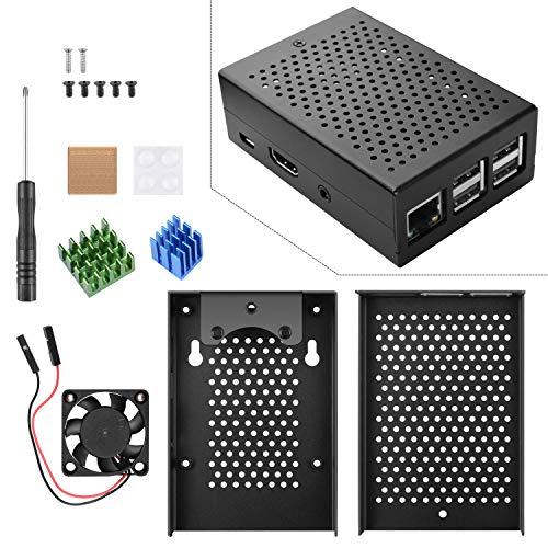STARTO Raspberry Pi Metal Custodia Case in con Ventola del dissipatore, Alluminio, dissipatore in Rame, cacciavite, Vite per Raspberry Pi 3B + / 3B / 2B + / 2B TS10
