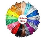 NRG CLEVER RP3DPLA620 Filaments de Remplacement pour stylos 3D, Filaments pour Crayon 3D de 1,75 mm, 20 Couleurs différentes de 6 mètres chacun, 120 mètres au Total