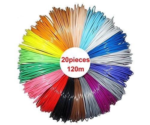 RP3DPLA620 Materiale di stampa Per 3D, 20 Colori, 6 Metri Cad. 3D Pen 1,75 Millimetri PLA 120 Metri
