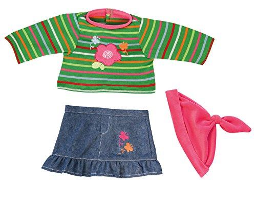 Bayer Design - 83831 - Vêtement pour Poupée - Habit Poupon - Ensemble Robe du Jeans Et T-Shirt Vert - 38 Cm
