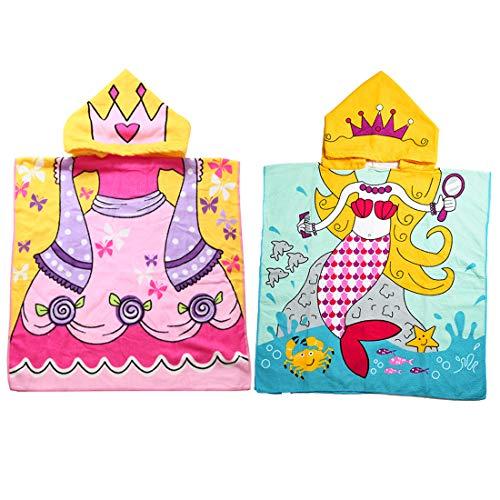 Lumsinker Kinder Badetuch Schwimmen Strand Poncho Kinder Bademantel Gr. One size, 2 x Schmetterlinge in blauer Meerjungfrau.