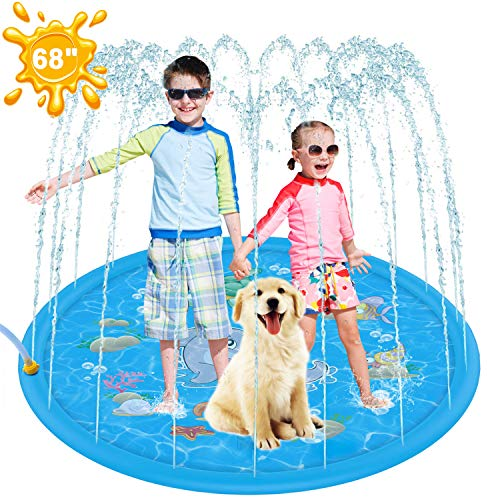 Tobeape Upgraded Sprinkler Splash Pad for Kids, Inflatable Outdoor Water Mat Toys Wading Swimming Pool, 68