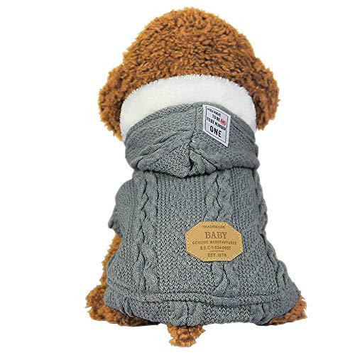 SEHOOペット服 セーター 犬服 秋冬 加絨 厚い ドッグウェア パーカー 小中型犬 防寒