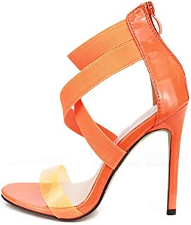 Ying-xinguang Shoes Fashion Sandals Elastic with Transparent Stilettos Women's High Heel Comfortable