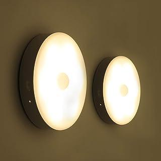 Husmeu Veilleuse LED Sans Fil 2 Pack, 180 Jours de Utilisation Chargé USB Une Fois, Auto-Détecteur du Mouvement, Lampe Nui...