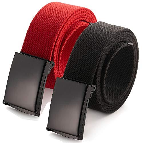 Cintura in tela regolabile, adatta a girovita fino a 132,1 cm, con fibbia militare nera tinta unita a scatto (16 colori e confezioni combinate) 2 Pack