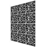 12 Paneles Separadores de Habitación para Colgar Divisor habitación Separador separación Espacios divisoria Pared en el Hogar, Hotel, Oficina, Bar, Decoración (Negro)