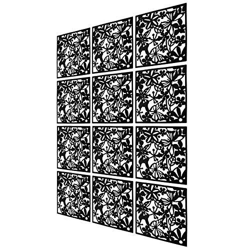MAFAGE Trennwände zum Aufhängen DIY, Raumteiler für Hotel, Zuhause, Bar, Zimmer, 40 x 40 cm Schwarz (Schwarz, 12 Stück)