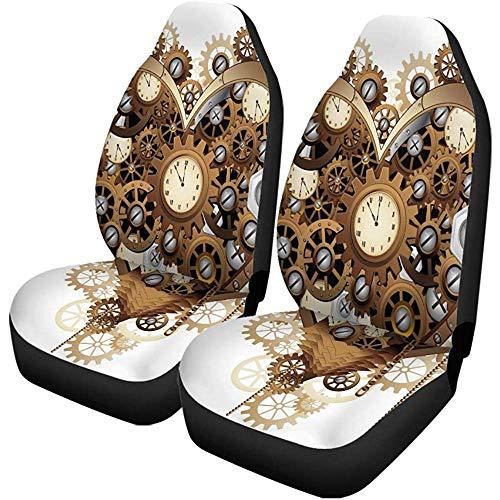 Beth-D Set van 2 autostoelhoezen tandwielen Steampunk hart liefde klok Valentijnshorloge mechanisme schroeven auto voorstoelen beschermer geschikt