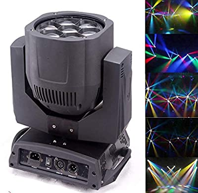 Led Moving Beam,Bee Eyes,7x12w Full Color 4IN1 RGBW LED Moving Head Light, Lens Plate Can Rotate,With Zoom,Use For Disco, Ballroom, KTV, Bar,Club, Party, Wedding