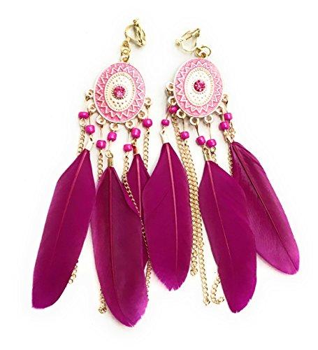 Ohrringe, Kronleuchter-Ohrclips mit Fuchsia-Pinken Federn, Gold-Töne, Gypsy-/Boho-Stil