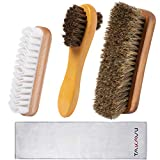 TAKAVU Shoe Shine Kit (4PCS) - 100% Soft Horsehair Bristles Brush, Polish Applicator, Crep...
