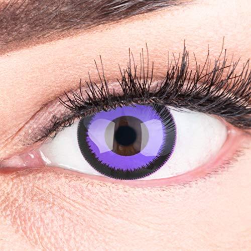 Funnylens 1 Paar farbige lila violet schwarze Crazy Fun Purple Lunatic Jahres Kontaktlinsen perfekt zu Halloween, Karneval, Fasching oder Fasnacht mit gratis Kontaktlinsenbehälter ohne Stärke!