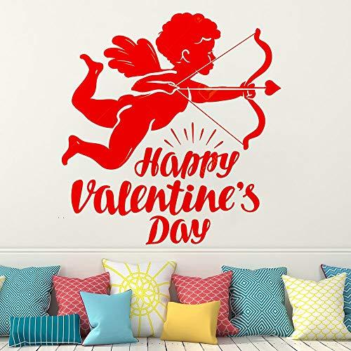 AQjept Feliz Día de San Valentín decoración de la habitación Pegatina de Pared calcomanía de Vinilo para Parejas Ángel Volador o Pegatina Dormitorio decoración del hogar97x104cm
