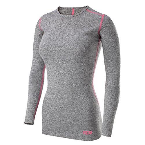 TCA SuperThermal Termoaktywna Koszulka Damska z Długim Rękawem do wszelkiej aktywności sportowej - Grey/Pink Marl (Szary/Różowy), S