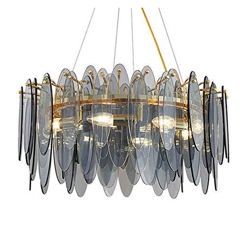 Taoyouzj Candelabros de Cristal Lujos Modernos de Lujo para la Sala de Estar de Oro Redondo Colgante Luz de luz Comedor Decoración de Dormitorio Decoración ahumada Gris/Blanco Lámpara de Vidrio