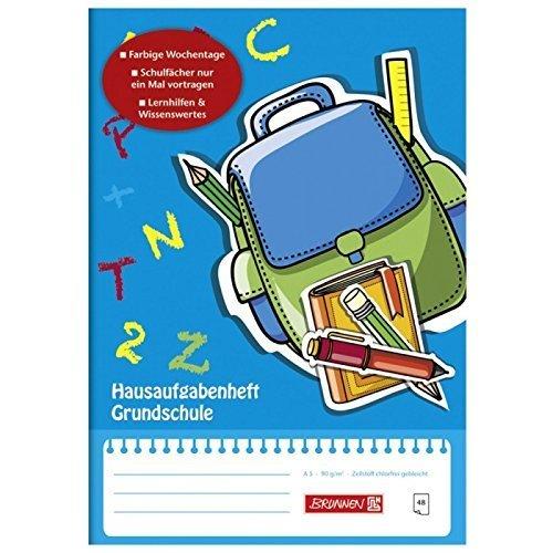 Hausaufgabenheft / Aufgabenheft GRUNDSCHULE 48 Blatt / A5 - im Schutzumschlag - Wochentage vorgetragen
